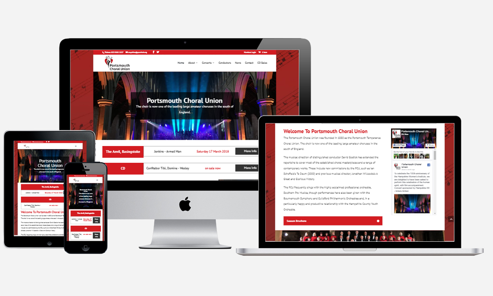 Portsmouth Choral Union - Website Design in Southampton